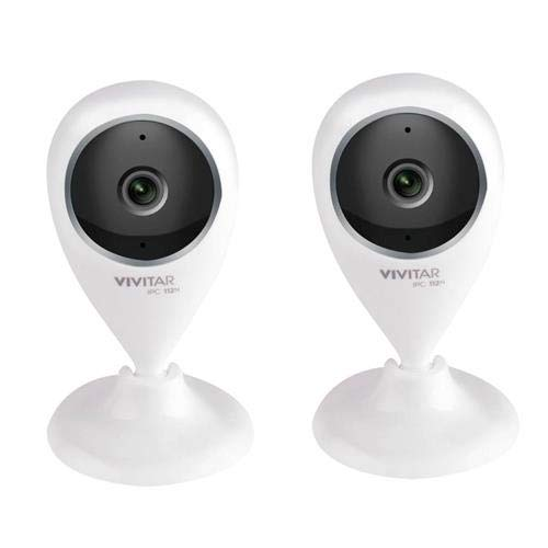 Vivitar IPC112G 720p Full HD Wide Angle View Wi-Fi Security Camera, White, 2-Pack by Vivitar
