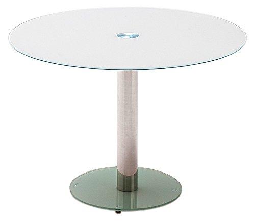 Tisch, Glastisch, Küchentisch, Beistelltisch, Esstisch;Säulentisch, rund, Sicherheitsglas lackiert, weiß, Säule verchromt, Durchmesser Tischplatte 100 cm, Bodenplatte 49,5 cm,  B/ H/ T 100/ 77/ 100 cm
