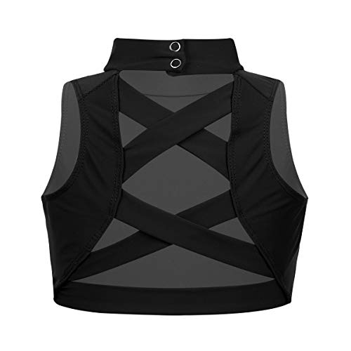 (inlzdz Kids Girls Mock Turtleneck Bandage Strappy Criss Cross Back Crop Top T-Shirt Sports Bra Tank Dancewear Black)
