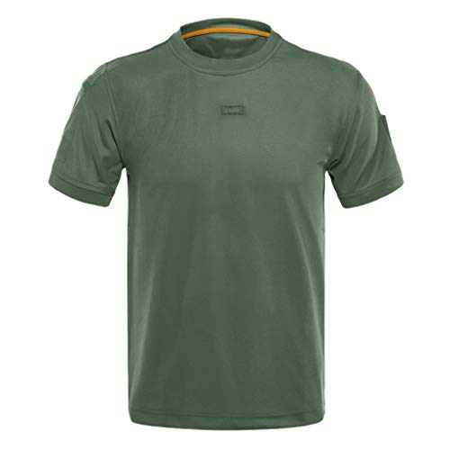 iHPH7 T-Shirts Short Sleeve Crew Neck Loose Elastic Quick Dry Training Tops Blouses Men (L,Green) -