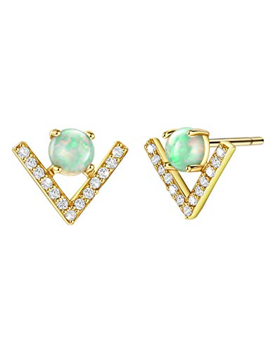 Dainty Opal Stud Earrings 18K Gold Plated Silver Green Opal Earring with CZ Chevron Accents 18K Gold Plated Jewelry for Women Girls