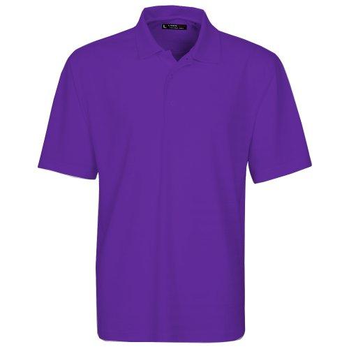 Oxford Men's Short Sleeve Solid Texture Stripe Polo, Medium, Grape