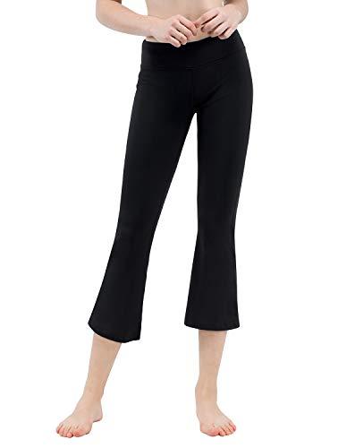 (TaiBid Women's Yoga Bootleg Pants Workout Capris Inner Pocket, Black - XL)