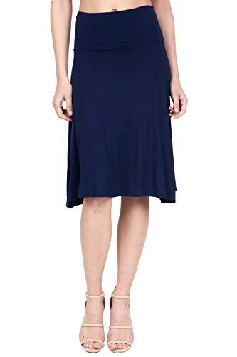 Elastic Waist Knit Skirt - iliad USA 8005 Women's Lightweight Elastic Waist Flowy Loose Flared Midi Skirt Navy XL