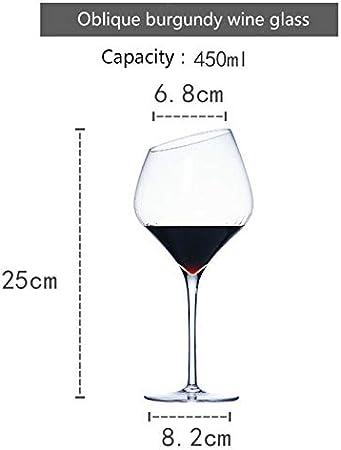 NYSJLONG Copa de Vino Tinto Sueño Creativo Boca Oblicua Copa de Vino Tinto Copa Dorada Copa Burdeos Borgoña Bar Regalo Familiar Vasos