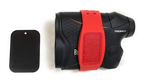 Less is more golf rangefinder Magnetic Holder Band (Strap) (Red), with Adhesive Metal Plate