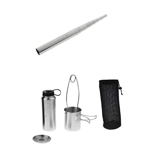 Prettyia Outdoor Telescopic Pocket Bellow + Stainless Water Bottle Cup Pot Kettle Mouth Spreader Hanging Hook by Prettyia