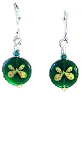 Yellow Butterfly on Green Coin Bead Lampwork Dangle Earrings ()