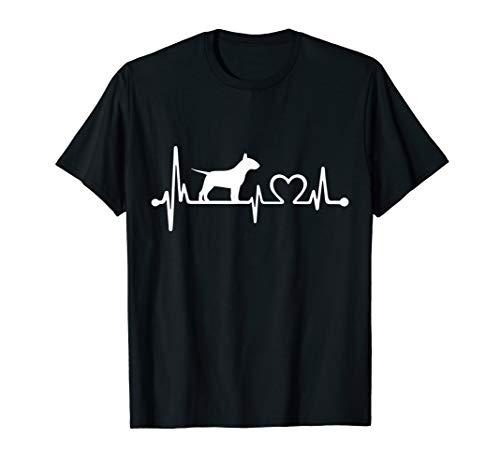 Bull Terrier Dog Heartbeat Funny Dog Gift - Terrier Black T-shirt Bull