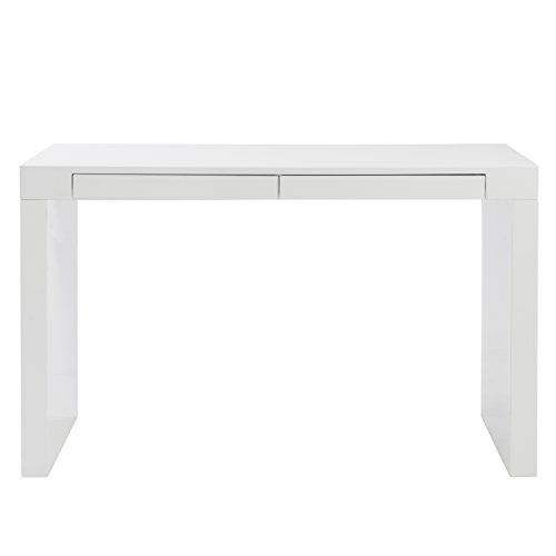 Euro Style Donald High Gloss Lacquered Desk with Two Drawers, White