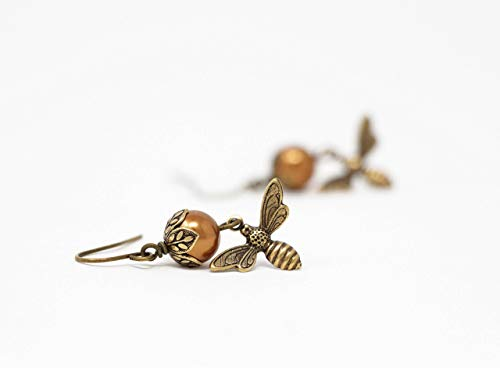 Bee Dangle Earrings With Copper Simulated Pearls