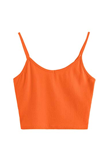 SheIn Women's Casual V Neck Sleeveless Ribbed Knit Cami Crop Top Orange