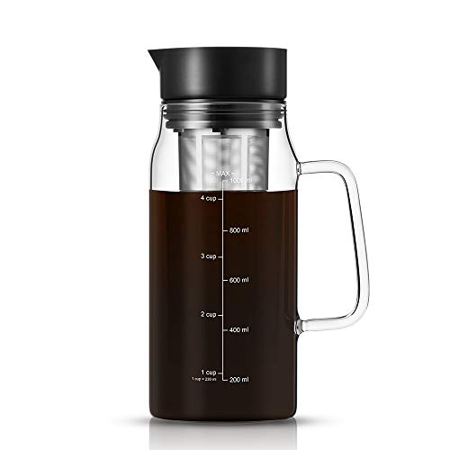 Soulhand Cold Brew Coffee Maker, Airtight Iced Coffee Tea Brewer Infuser Maker 34oz 1L Glass Pot with Spout, Removable Stainless Steel Steeping Filter Basket for Iced Coffee Tea