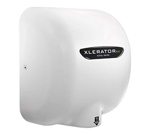 Excel Dryer XLERATOReco XL-BW- ECO 1.1N High Speed Automatic Dryer, No Heat, White Thermoset BMC Cover, GreenSpec Listed, LEED Credit with Noise Reduction Nozzle 500 Watts