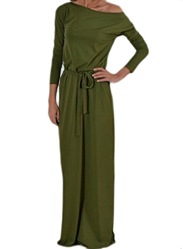 Coolred Sleeve One Dresses Green Army Simple Color Club Waist Smocked Long Evening Solid Women Shoulder rxHwTarqU