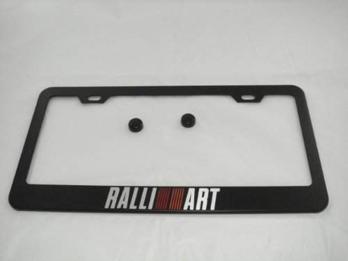 Mitsubishi Ralliart Black License Plate Frame with Cap
