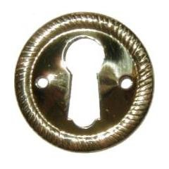 E-2 ROUND BRASS KEYHOLE ESCUTCHEON ANTIQUE REPRODUCTION + FREE BONUS (SKELETON KEY - Key Vintage Hole