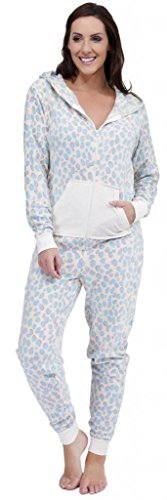 Ladies Fleecy Dalmatian Print Patterned Hooded All In One Onesie Blue Large