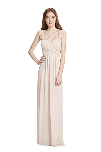 (Samantha Paige Sweetheart Neckline Lace Shoulder Strap Pleated A-line Chiffon Formal Dress,Champagne,12)