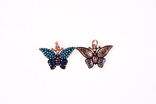 (GOODBEAD Turquoise, Sapphire, Fuschia CZ Cubic Zirconia Micro Pave Winged Butterfly Insect Bug Charm Pendant with Jump Ring| DIY Necklace, Choker, Bracelet, Anklet)