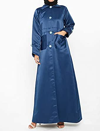 Nukhbaa Blue Satin Cape For Women