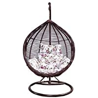 Galaxy Design Brown & White Rattan Hanging Chair (Swing Chair)