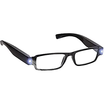7a6f0426e5a Bright LED Readers with Lights Reading Glasses Lighted Magnifier Nighttime  Reader Compact Full Frame Eyewear Clear