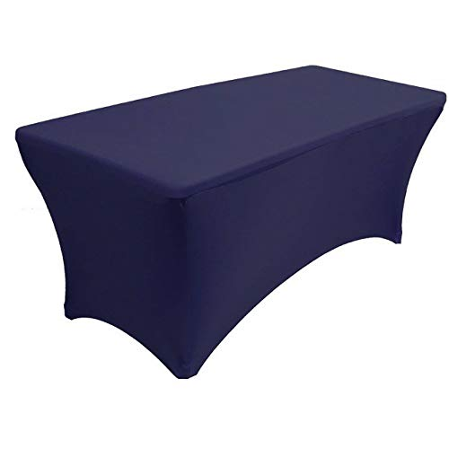 Mikash 4 ft x 2.5ft Spandex Fitted Stretch Tablecloth Table Cover Wedding Navy Blue | Model TBLCLTH - 80