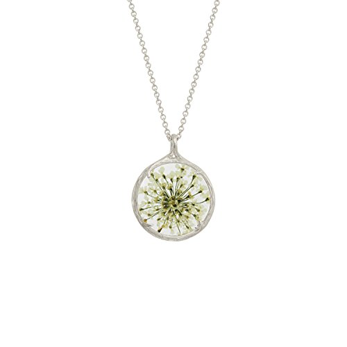 Botanical Pendant Necklace with Delicate Dried Flowers in Glass Charm (Queen Anne's Lace, (Glass Textured Sterling Silver Necklace)