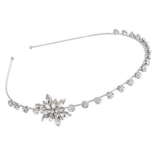 MJARTORIA Silver Color Christmas Snowflake Headband Hair Band with Rhinestone Xmas Deco for Women Girls ()