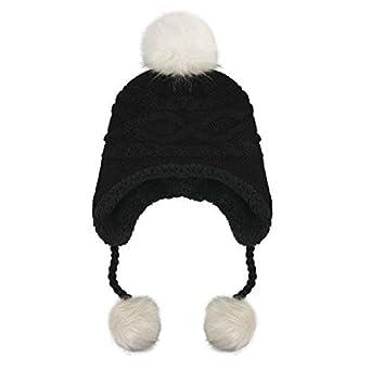 96b88616ee7c Winter Baby Boys Girls Knitted Hat Warm Pom Pom Earmuffs Hat Beanie ...