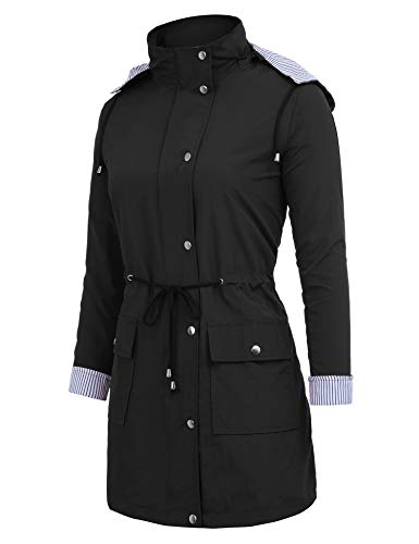 Antipioggia Active Da Cappuccio Unbrand Outdoor Giacca Trench black Impermeabili Con Donna Long Style gwxtq1FB