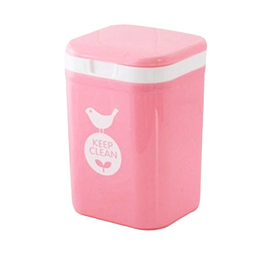 Creative Wastebasket With Cover Cute Mini Trash Bin For Home/Office-Pink