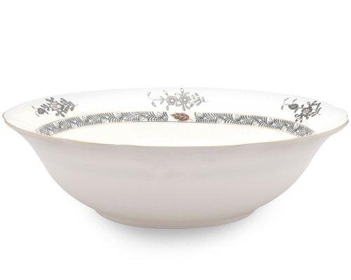 Gracie Bone China 9-Inch Serving Bowl with Scallop Edge, Black Gracie