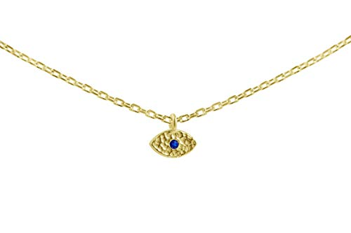 Tiny Evil Eye Choker Necklace in Yellow Gold | Alef Bet by -