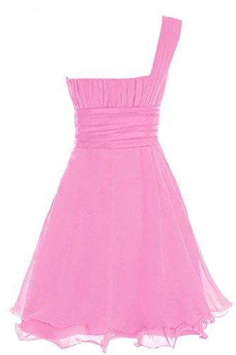 da Homecoming Abito spalla Fuchsia Chiffon Dress Prom Chiffon Una Cocktail in Vestito Sunvary 8nTRpzxw