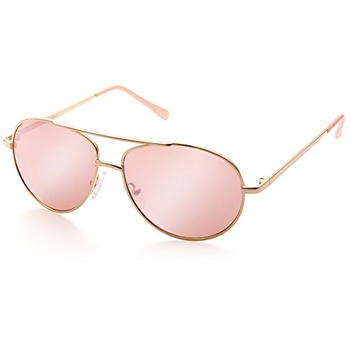 Aviator Sunglasses for Kids Girls Children, Eyewear for Small Face, Gold Metal Frame, Pink Tinted Lens, FDA -