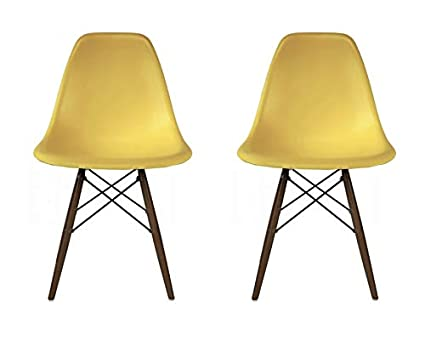 Plata Import Eames Style Side Chair with Walnut Wood Legs Eiffel Dining Room Chair in Yellow Set 2