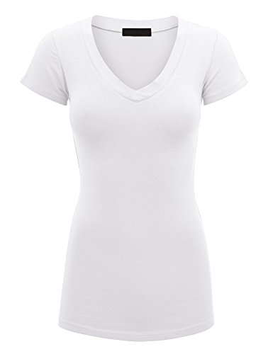 - Lock and Love WT1606 Womens Basic Fitted Short Sleeve V-Neck T Shirt S White