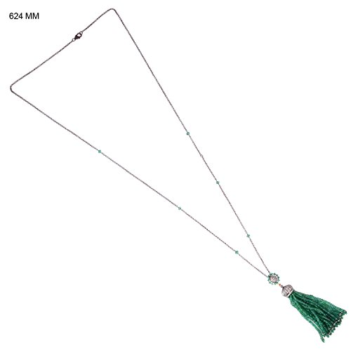 77.53 Cttw Genuine Emerald Pave Diamond Tassel Necklace in 18K Gold & Sterling Silver by Mettlle