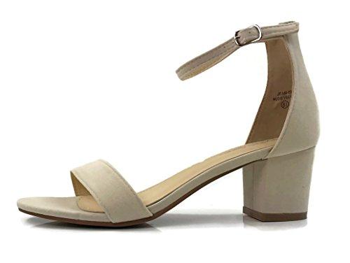 Bella Marie Womens Strappy Open Toe Block Heel Sandal Nude Velvet C7vhK