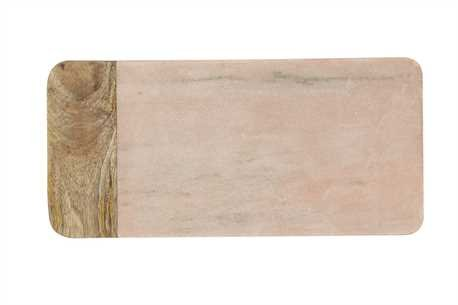 Creative Co-op DA6157 Pink Marble and Mango Wood Cheese Board, Large, Multicolor