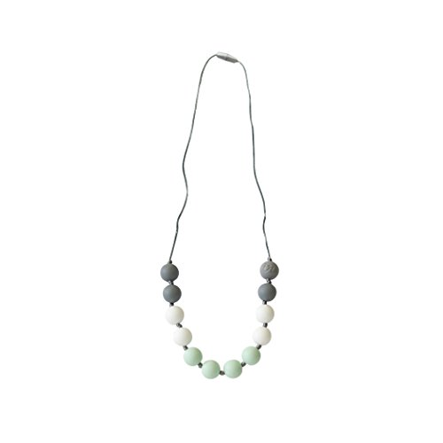 Itzy Ritzy Teething Happens Silicone Necklace Petite Strand, Mint