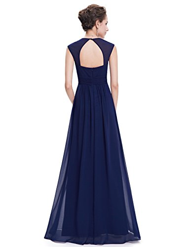 Ever-Pretty Womens Elegant Cap Sleeve Floor Length Grecian Style Bridesmaid Dress 12 US Navy Blue