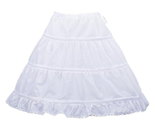 Eyekepper 3 Hoops Flower Girl Wedding Ruffle Crinoline Petticoat Underskirt Girls