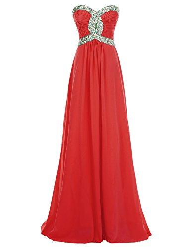 Rot Lange Schatz Chiffon Brautjungfernkleid Abendkleider Erosebridal Ballkleid EwqBYTxqR