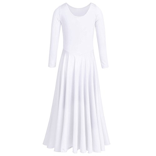 Women Liturgical Praise Lyrical Dance Dress Loose Fit Full Length Dancewear Long Sleeve Christian Worship Costume Girls Long Full Circle Dance Skirt White M