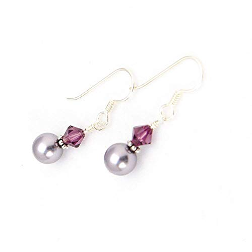 Mauve and Plum Drop Earrings with Swarovski Simulated Pearls, Crystals and Sterling - Illusion Crystal Swarovski