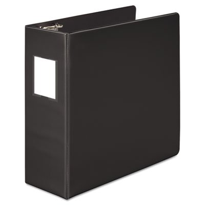 Heavy-Duty No-Gap D-Ring Binder With Label Holder, 4'' Capacity, Black, Total 6 EA