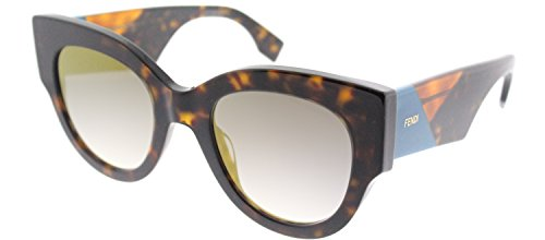 Fendi FF 0264 086 Dark Havana Plastic Cat-Eye Sunglasses Gold Mirror - Polarized Fendi Sunglasses
